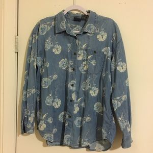 Lizwear Floral Chambray Button Up